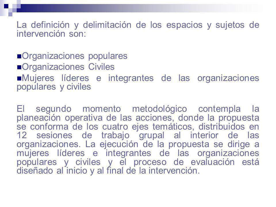 La definición y delimitación de los espacios y sujetos de intervención son: