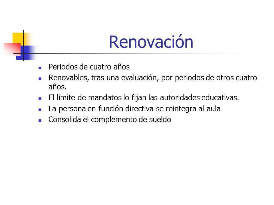 Renovación Periodos de cuatro años