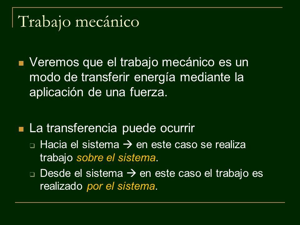 Trabajo mecánico Veremos que el trabajo mecánico es un modo de transferir energía mediante la aplicación de una fuerza.