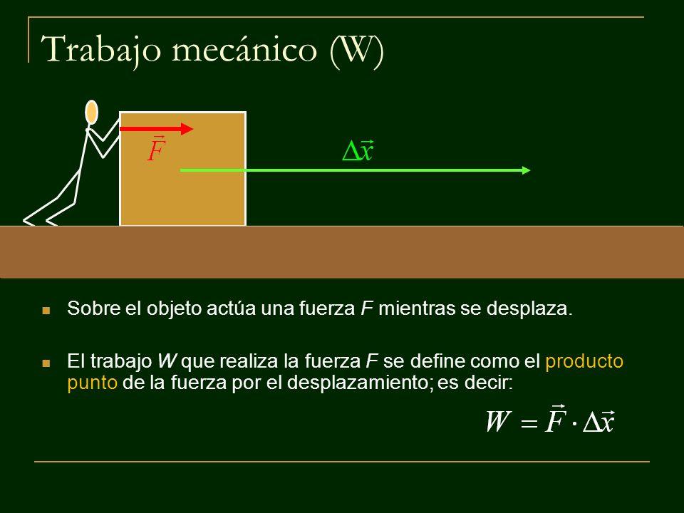 Trabajo mecánico (W) Sobre el objeto actúa una fuerza F mientras se desplaza.