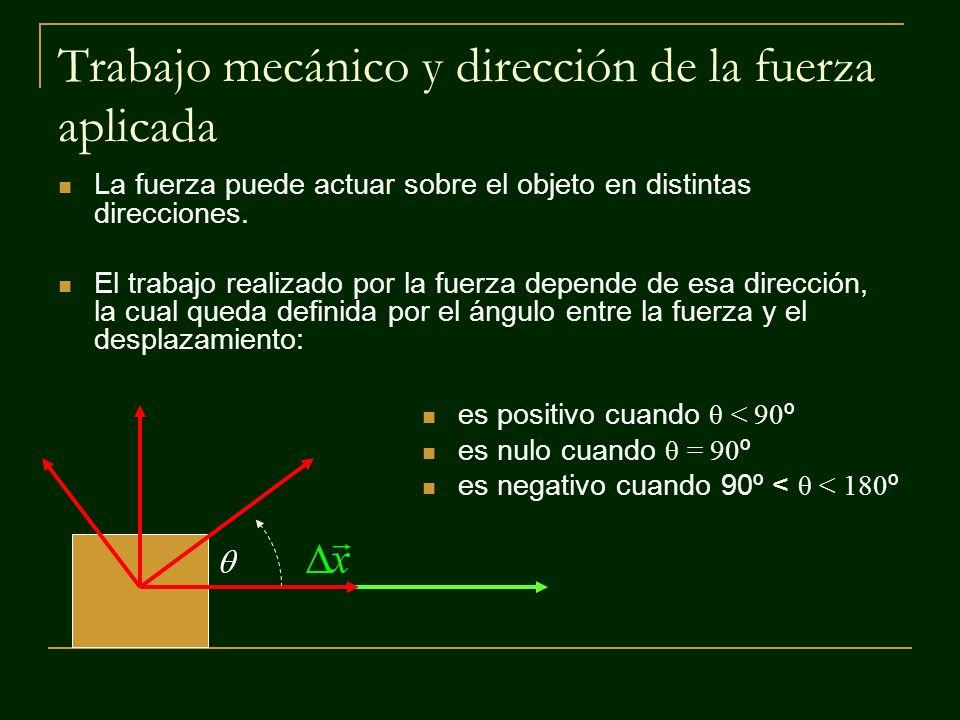 Trabajo mecánico y dirección de la fuerza aplicada