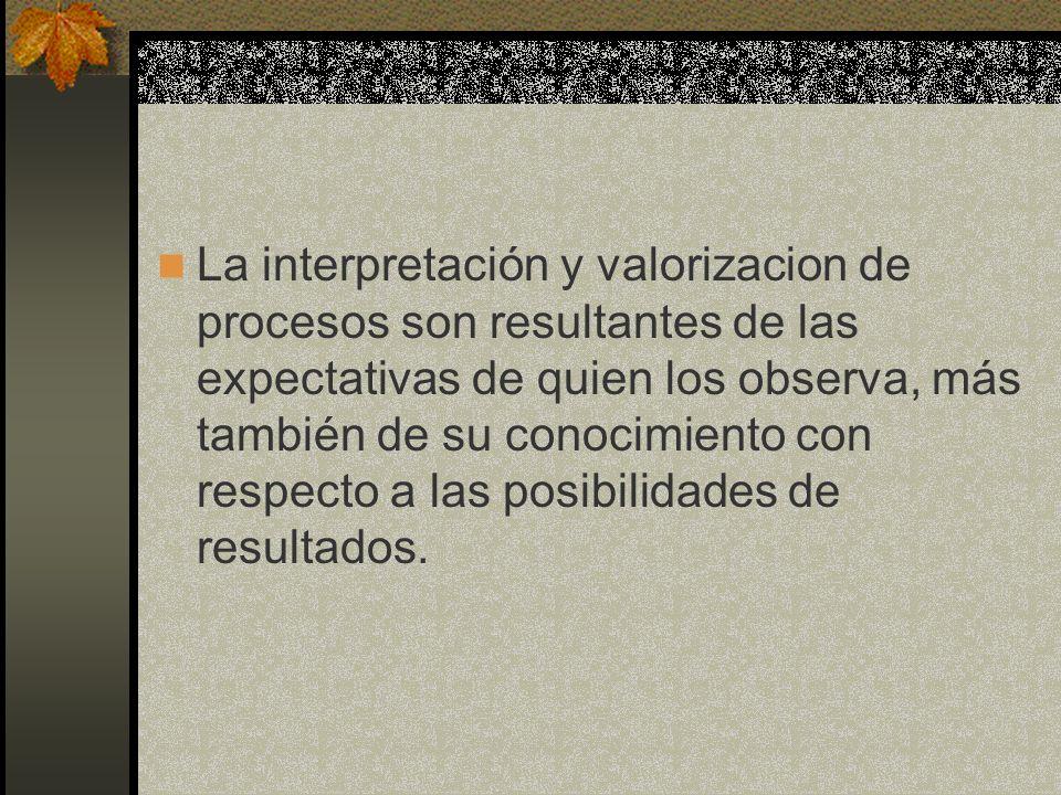 La interpretación y valorizacion de procesos son resultantes de las expectativas de quien los observa, más también de su conocimiento con respecto a las posibilidades de resultados.