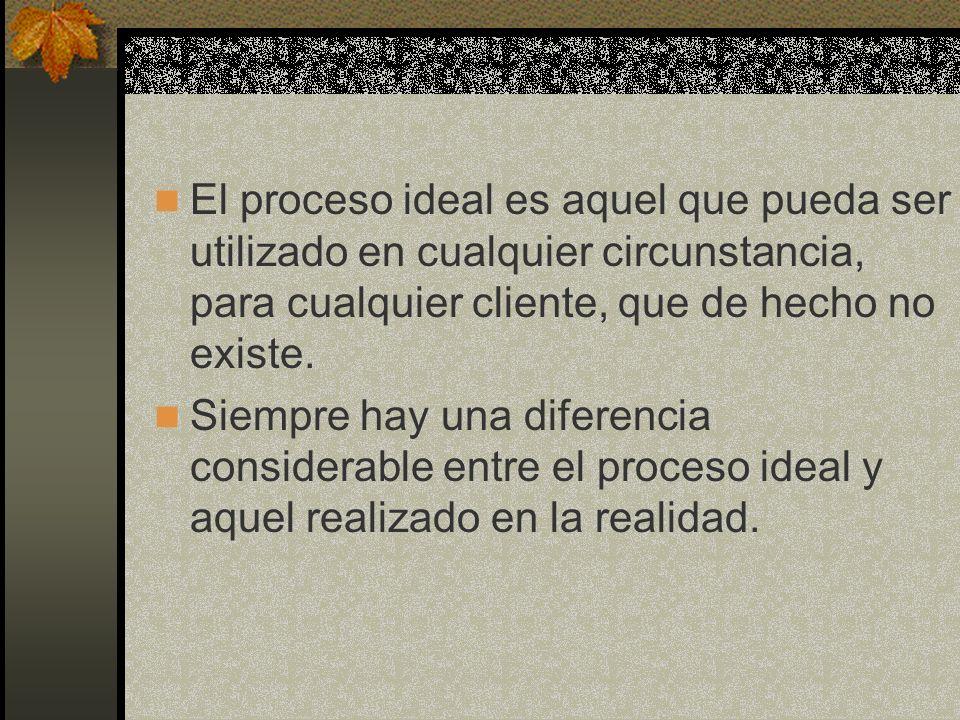 El proceso ideal es aquel que pueda ser utilizado en cualquier circunstancia, para cualquier cliente, que de hecho no existe.