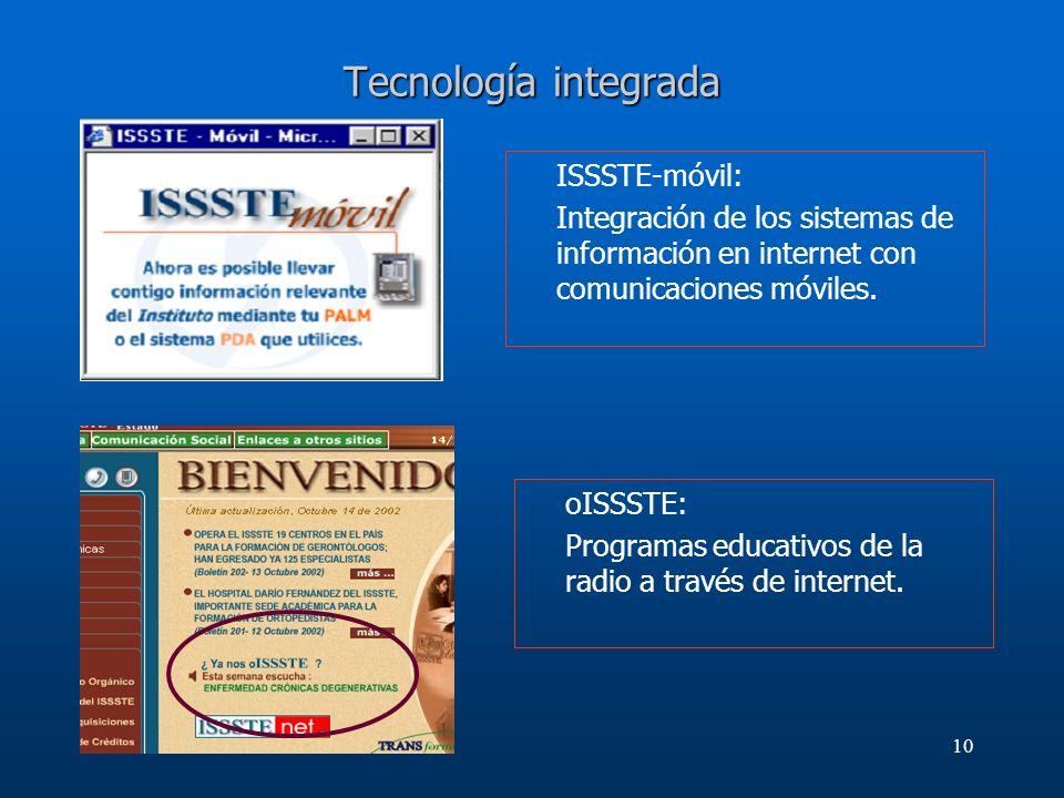 Tecnología integrada ISSSTE-móvil: