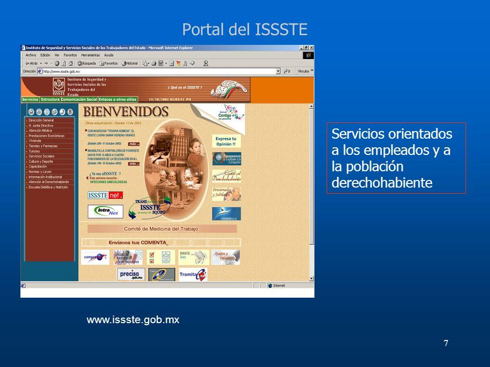 Portal del ISSSTEServicios orientados a los empleados y a la población derechohabiente.