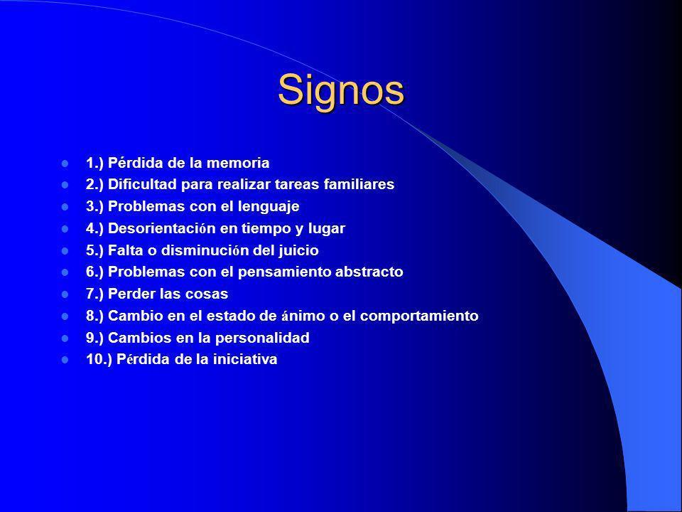 Signos 1.) Pérdida de la memoria