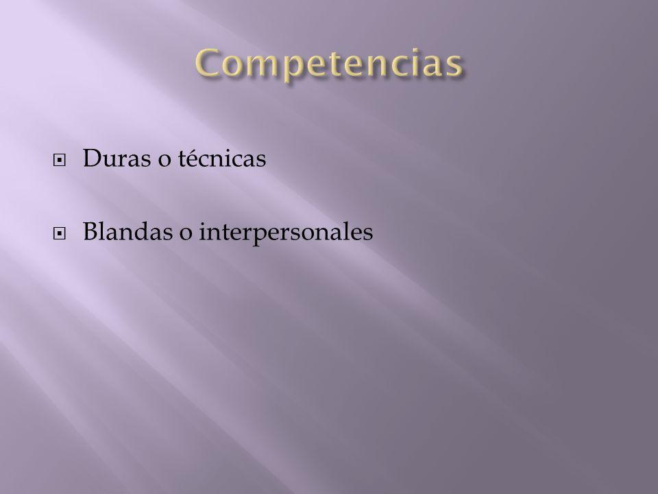 Competencias Duras o técnicas Blandas o interpersonales