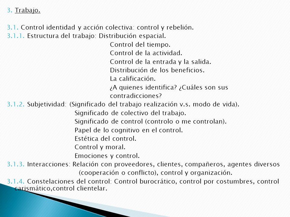3.Trabajo. 3.1. Control identidad y acción colectiva: control y rebelión.