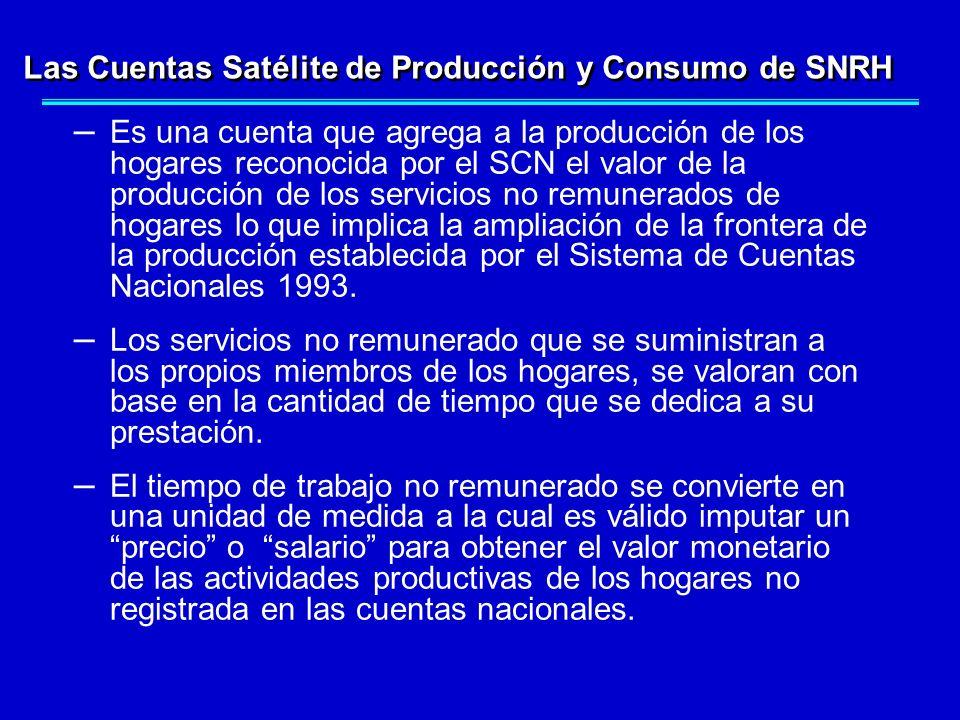Las Cuentas Satélite de Producción y Consumo de SNRH