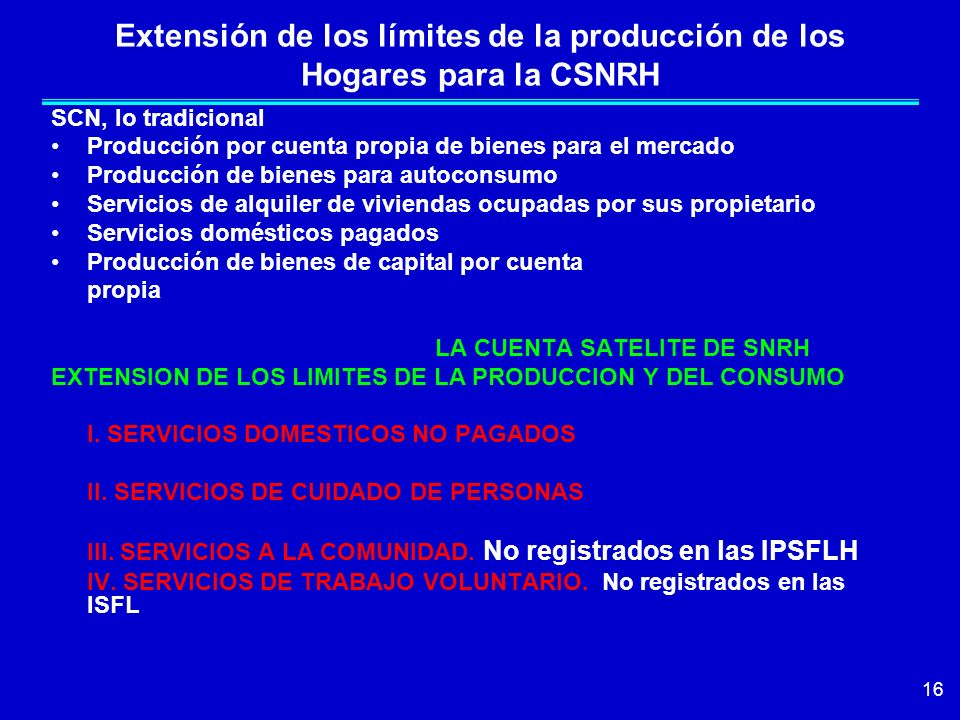 Extensión de los límites de la producción de los Hogares para la CSNRH