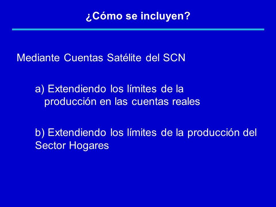 ¿Cómo se incluyen Mediante Cuentas Satélite del SCN. a) Extendiendo los límites de la producción en las cuentas reales.