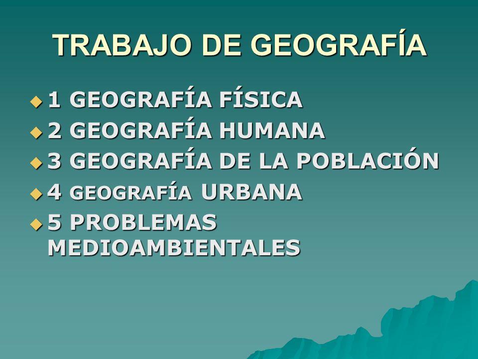 TRABAJO DE GEOGRAFÍA 1 GEOGRAFÍA FÍSICA 2 GEOGRAFÍA HUMANA
