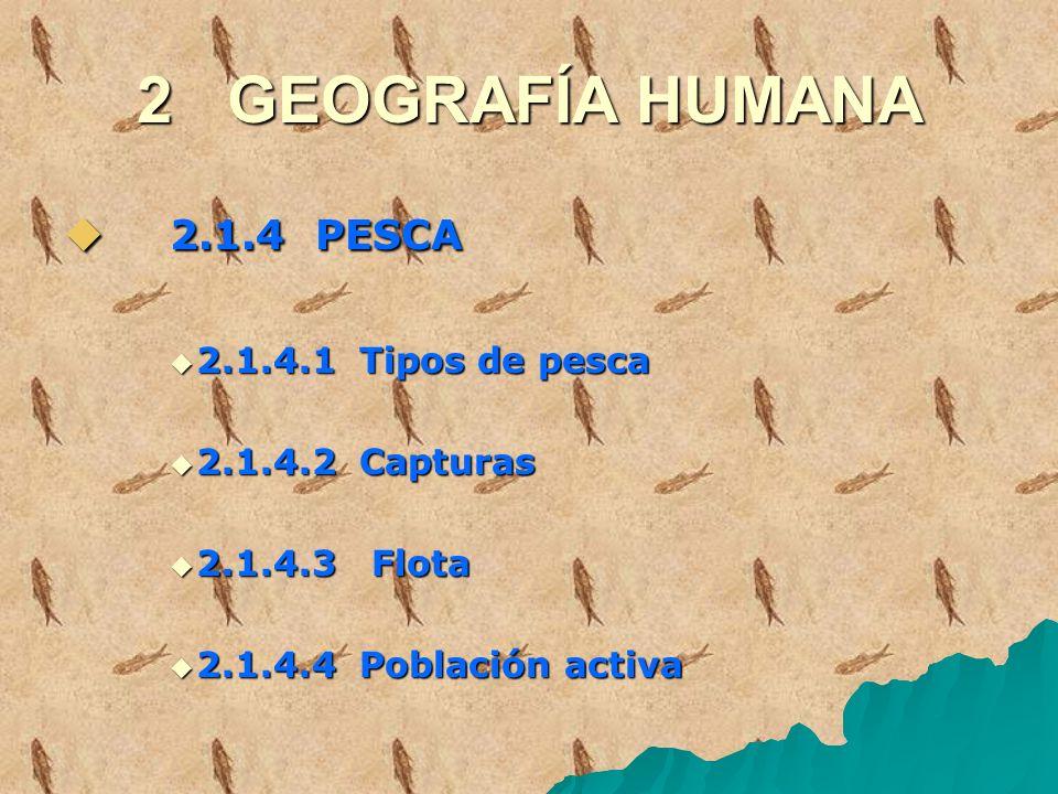 2 GEOGRAFÍA HUMANA 2.1.4 PESCA 2.1.4.1 Tipos de pesca 2.1.4.2 Capturas