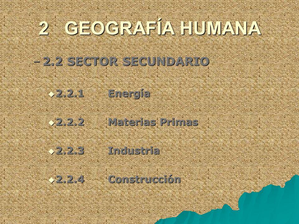2 GEOGRAFÍA HUMANA 2.2 SECTOR SECUNDARIO 2.2.1 Energía