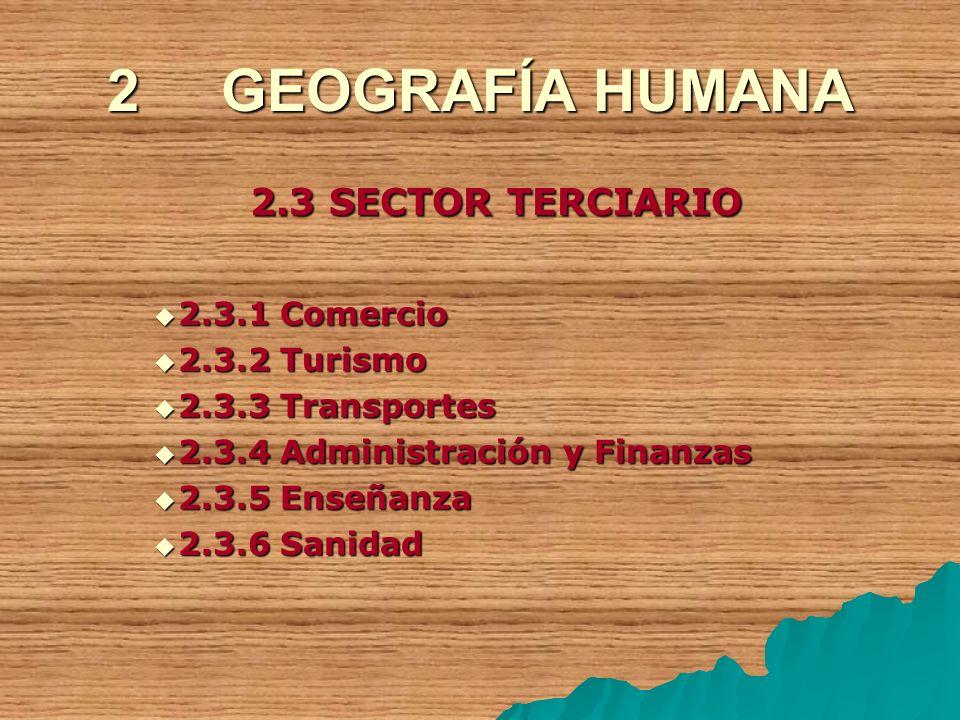 2 GEOGRAFÍA HUMANA 2.3 SECTOR TERCIARIO 2.3.1 Comercio 2.3.2 Turismo