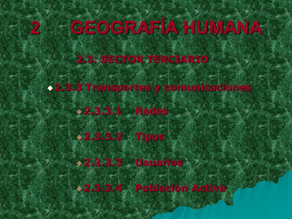2 GEOGRAFÍA HUMANA 2.3. SECTOR TERCIARIO