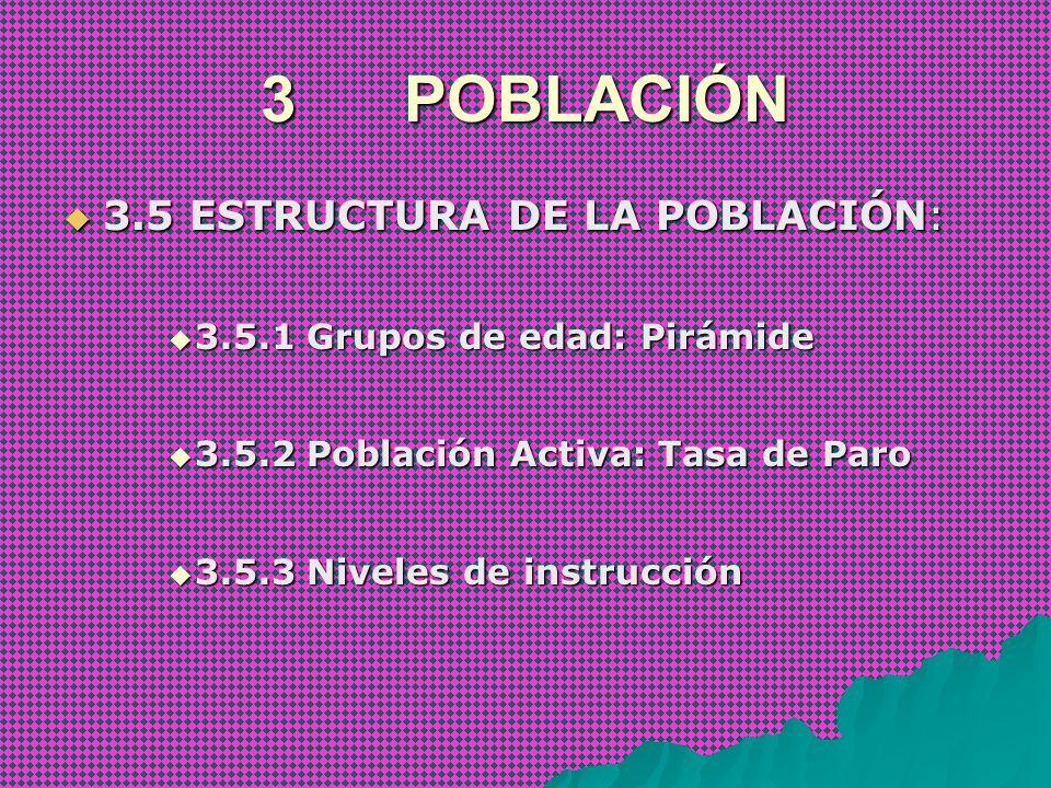 3 POBLACIÓN 3.5 ESTRUCTURA DE LA POBLACIÓN:
