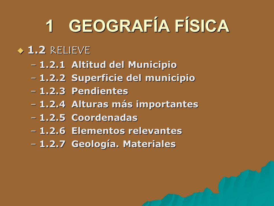 1 GEOGRAFÍA FÍSICA 1.2 RELIEVE 1.2.1 Altitud del Municipio