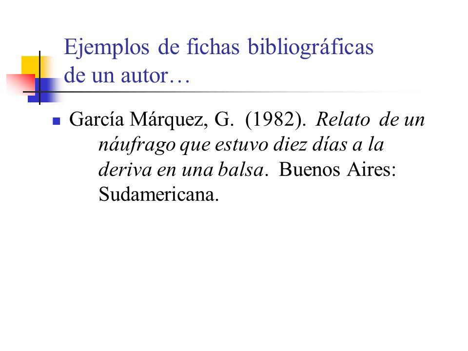 Ejemplos de fichas bibliográficas de un autor…