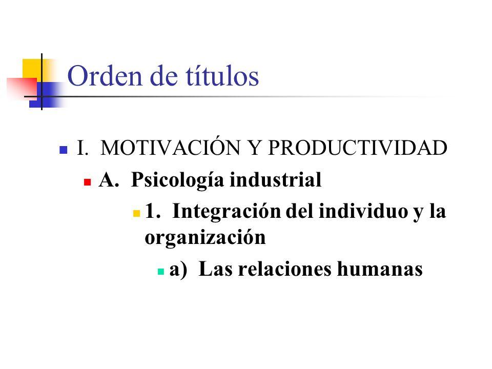 Orden de títulos I. MOTIVACIÓN Y PRODUCTIVIDAD