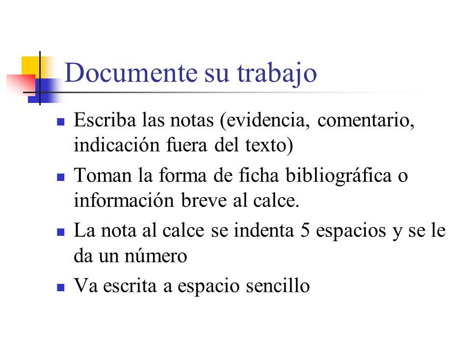 Documente su trabajo Escriba las notas (evidencia, comentario, indicación fuera del texto)