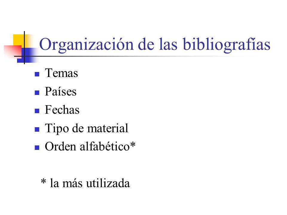 Organización de las bibliografías