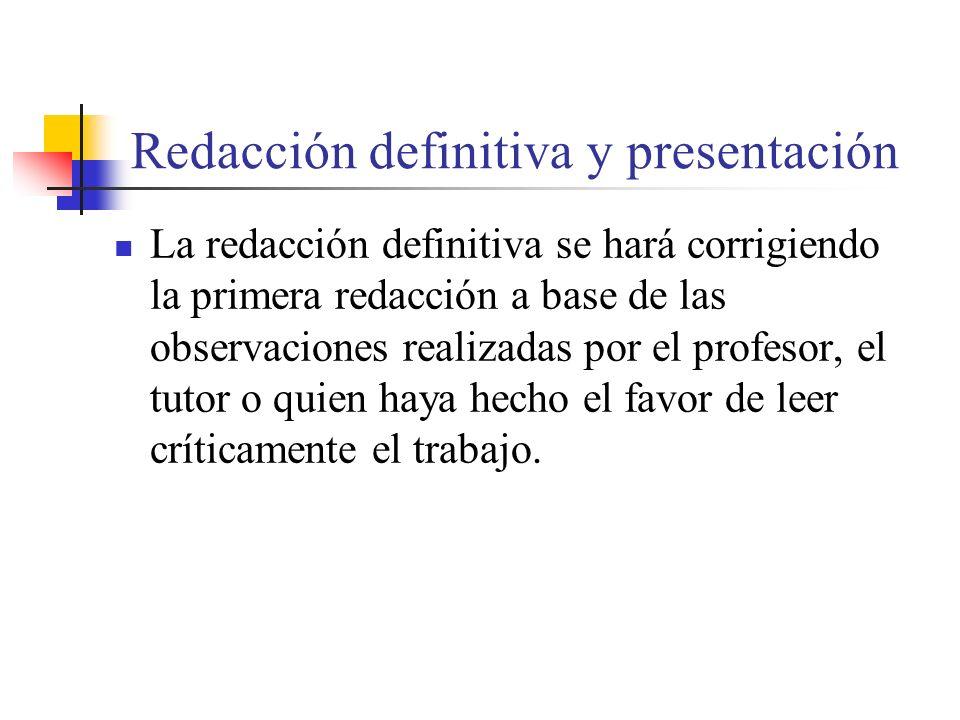 Redacción definitiva y presentación
