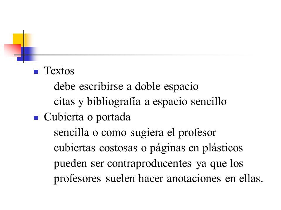 Textos debe escribirse a doble espacio. citas y bibliografía a espacio sencillo. Cubierta o portada.