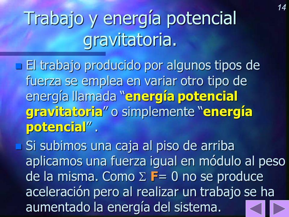 Trabajo y energía potencial gravitatoria.