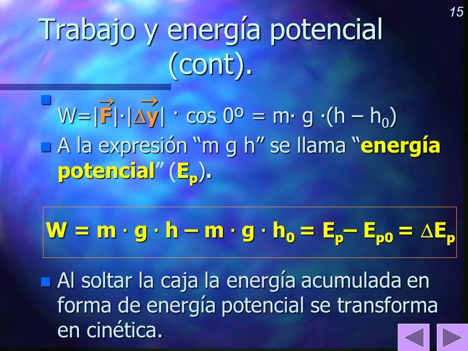 Trabajo y energía potencial (cont).