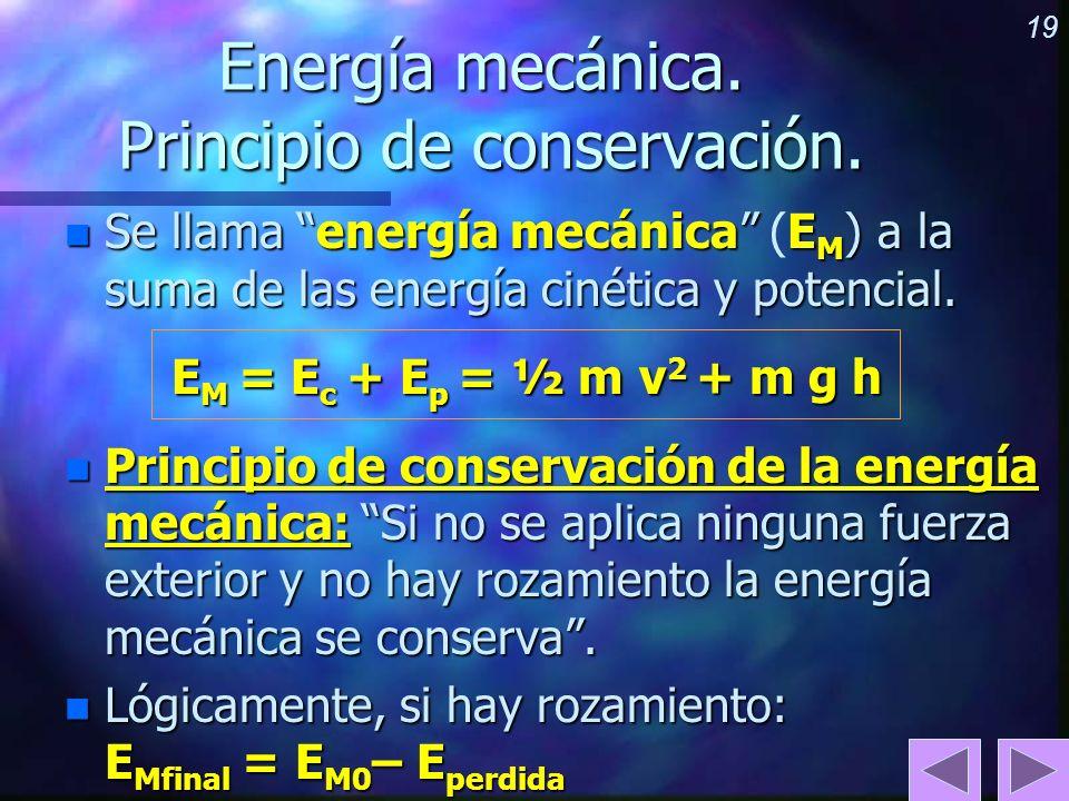 Energía mecánica. Principio de conservación.