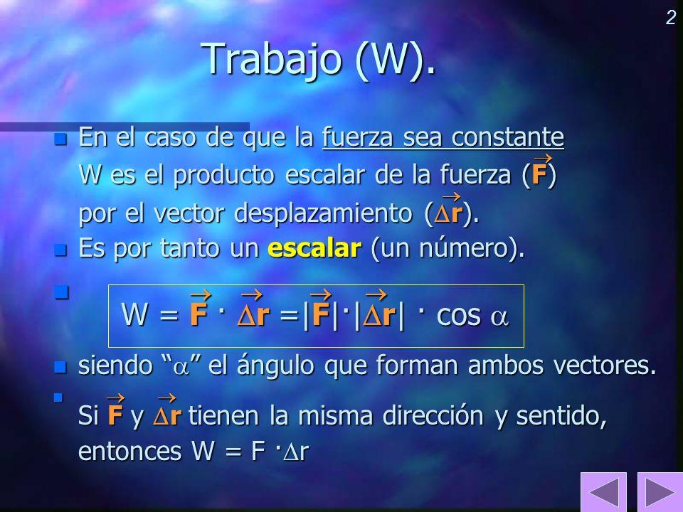 Trabajo (W).     W = F · r =|F|·|r| · cos 