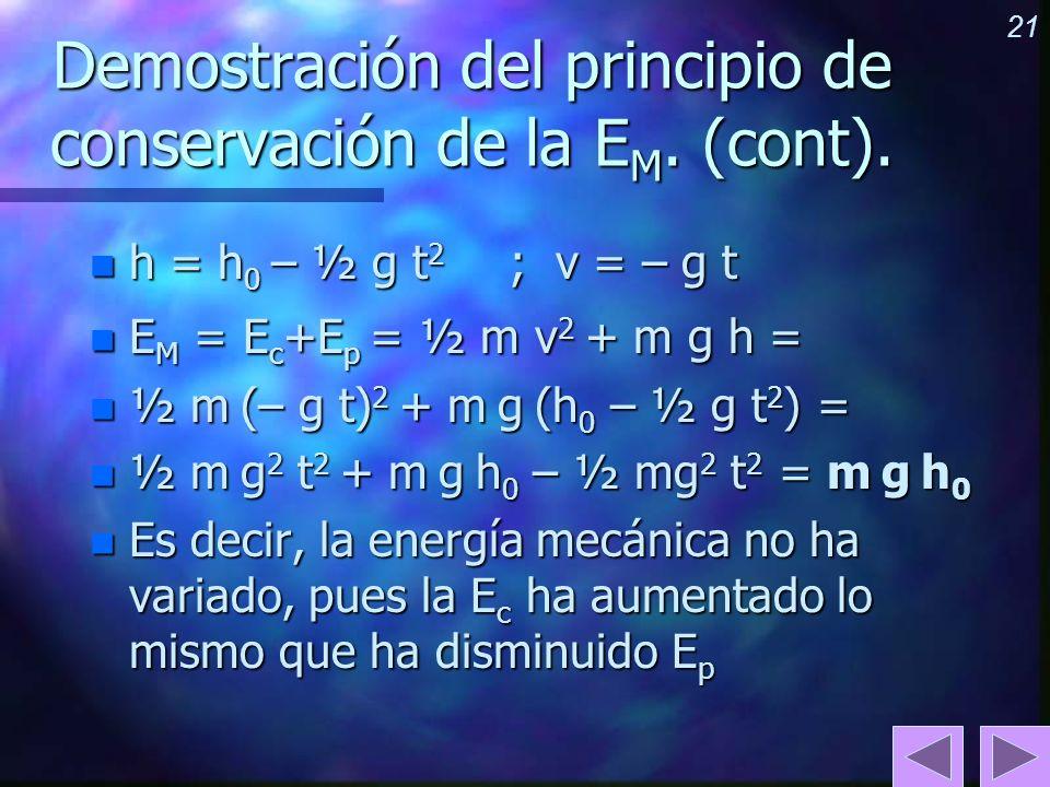 Demostración del principio de conservación de la EM. (cont).