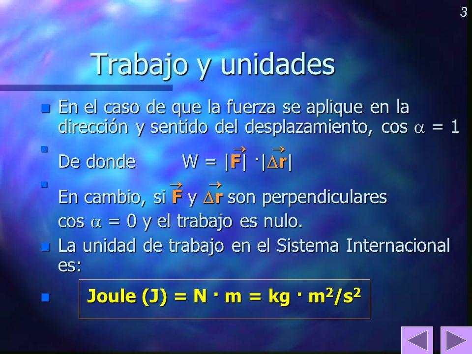 Trabajo y unidades En el caso de que la fuerza se aplique en la dirección y sentido del desplazamiento, cos  = 1.
