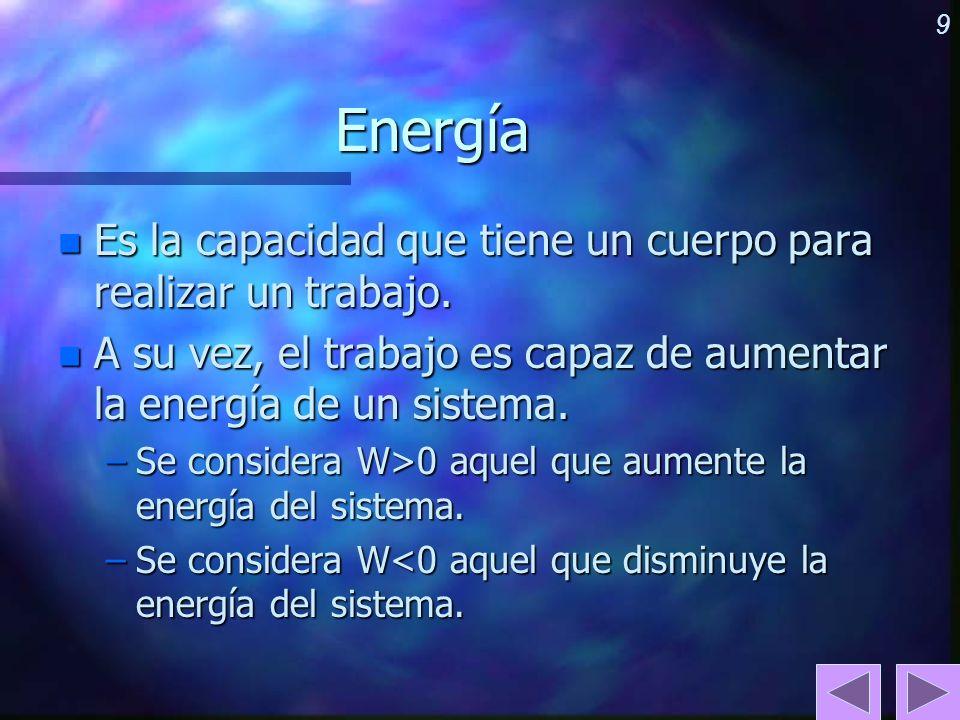 Energía Es la capacidad que tiene un cuerpo para realizar un trabajo.