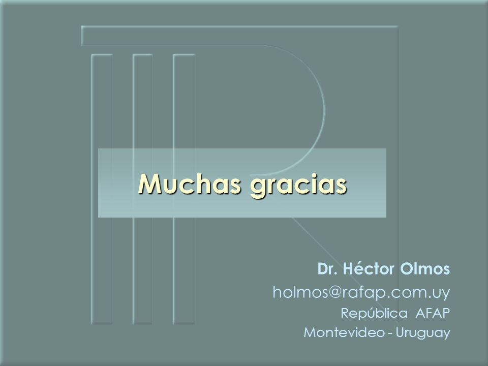 Muchas gracias Dr. Héctor Olmos holmos@rafap.com.uy República AFAP