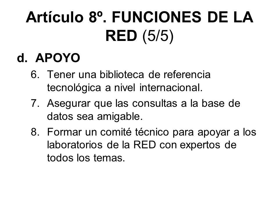 Artículo 8º. FUNCIONES DE LA RED (5/5)