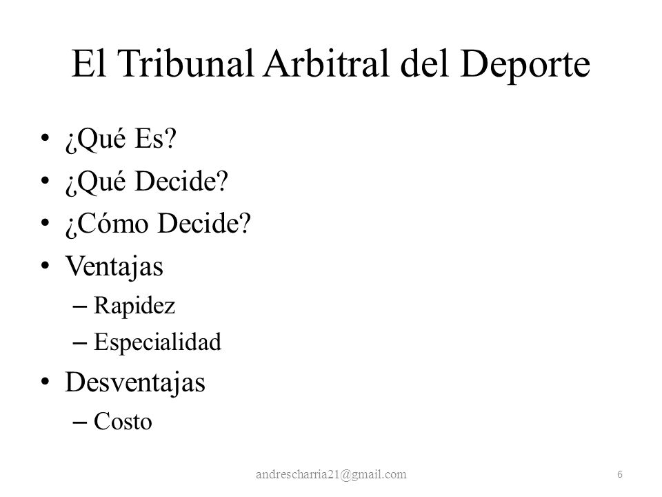 El Tribunal Arbitral del Deporte