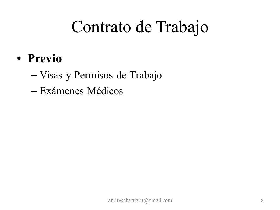 Contrato de Trabajo Previo Visas y Permisos de Trabajo