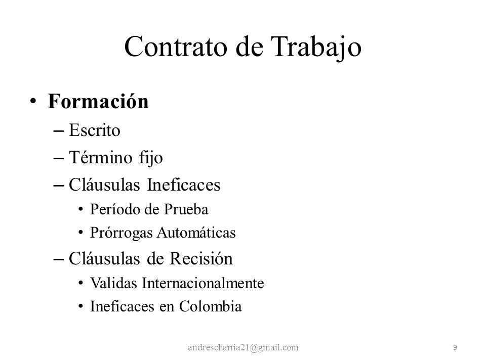 Contrato de Trabajo Formación Escrito Término fijo