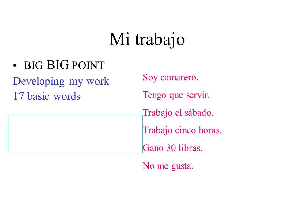 Mi trabajo BIG BIG POINT Developing my work 17 basic words