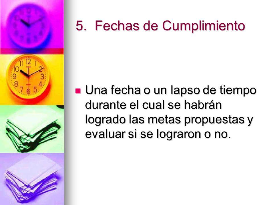 5. Fechas de Cumplimiento