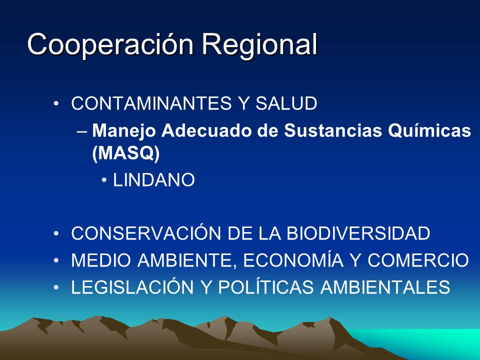 Cooperación Regional CONTAMINANTES Y SALUD