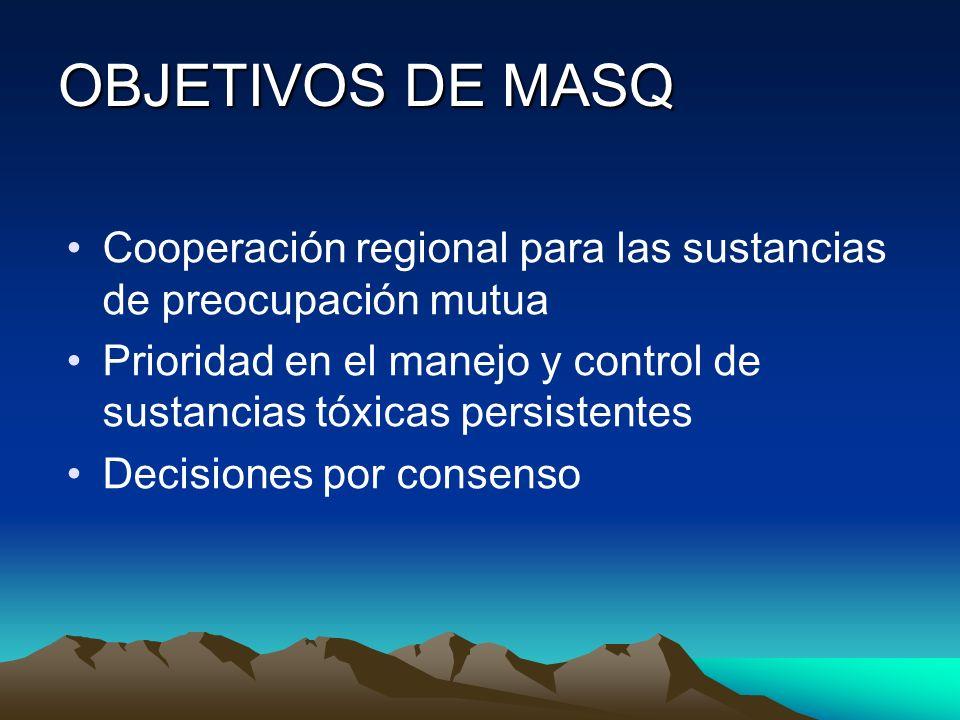 OBJETIVOS DE MASQ Cooperación regional para las sustancias de preocupación mutua.