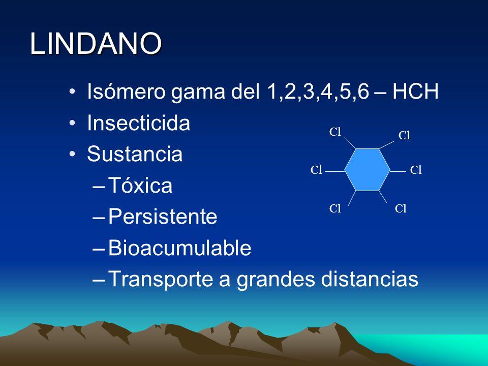 LINDANO Isómero gama del 1,2,3,4,5,6 – HCH Insecticida Sustancia