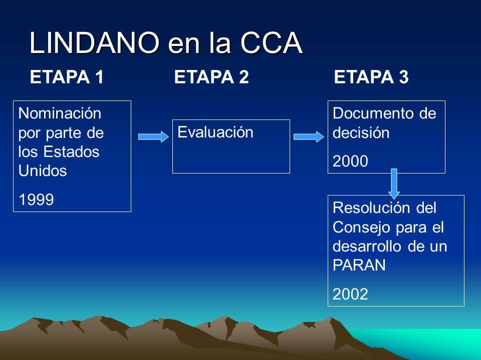 LINDANO en la CCA ETAPA 1 ETAPA 2 ETAPA 3