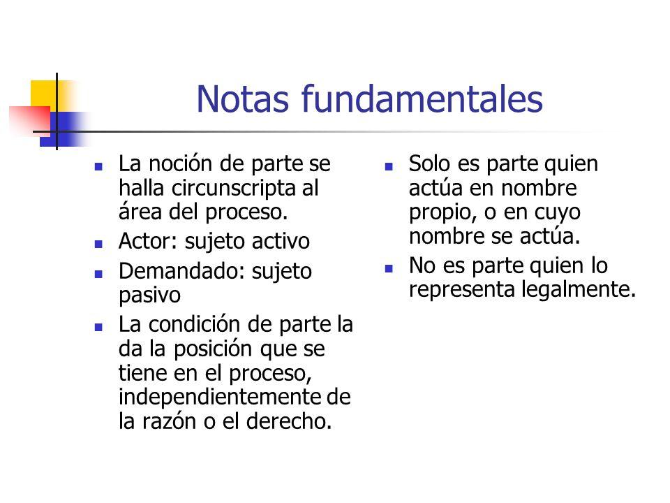 Notas fundamentales La noción de parte se halla circunscripta al área del proceso. Actor: sujeto activo.