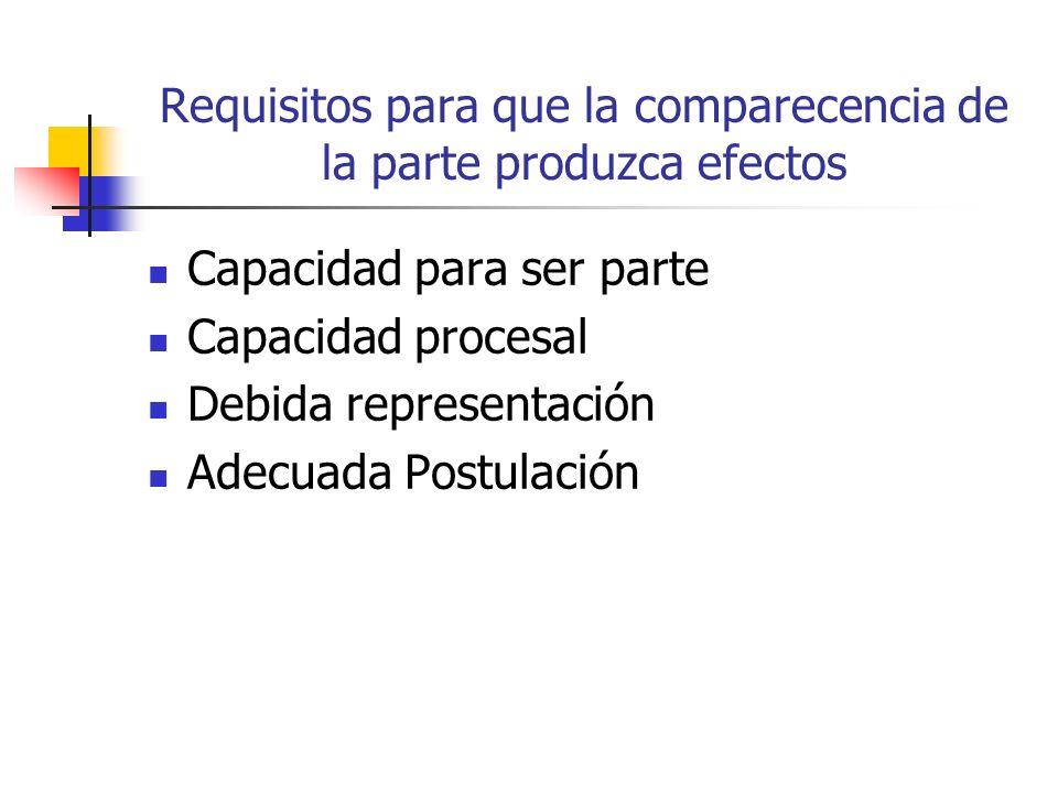Requisitos para que la comparecencia de la parte produzca efectos