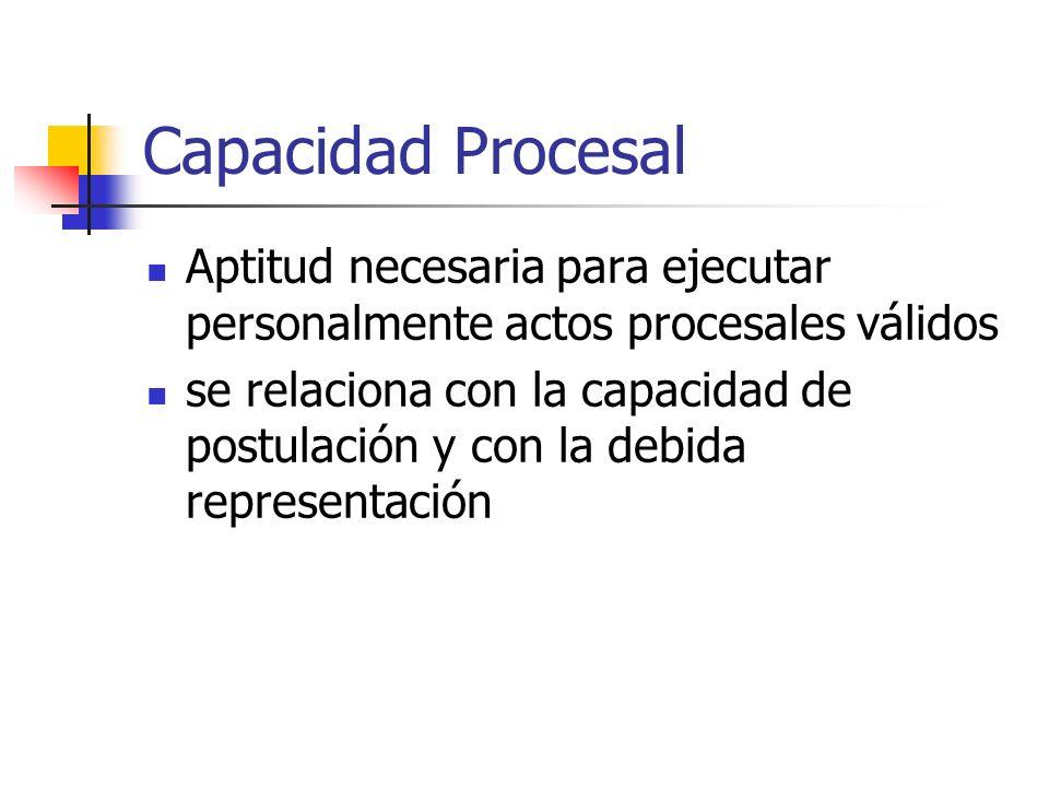 Capacidad Procesal Aptitud necesaria para ejecutar personalmente actos procesales válidos.