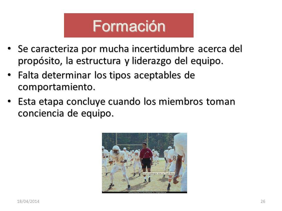 Formación Se caracteriza por mucha incertidumbre acerca del propósito, la estructura y liderazgo del equipo.